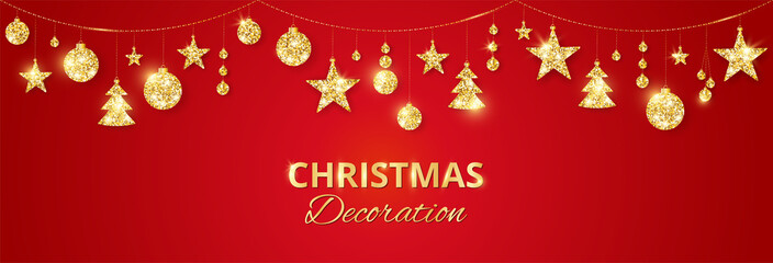 Christmas golden decoration on red background. Holiday vector frame, border.