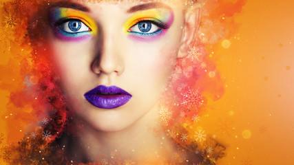 Wall Mural - Winter Beauty Woman. Christmas Girl Makeup. Creative Color Make-up. Beautiful young woman face closeup, winter snow, lips. fashion model girl. Art
