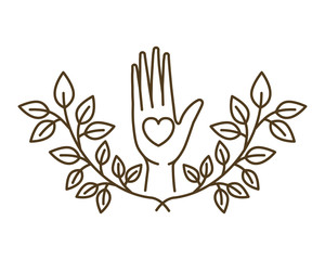 open hand with heart isolated icon