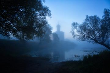 Church of Intercession upon Nerl River. (Bogolubovo, Vladimir region, Golden Ring of Russia) in autumn fog night Wall mural