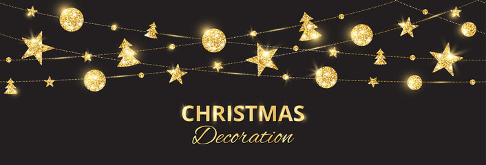 Wall Mural - Christmas golden decoration on black background. Holiday vector frame, border.