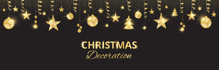 Christmas golden decoration on black background. Holiday vector frame, border.