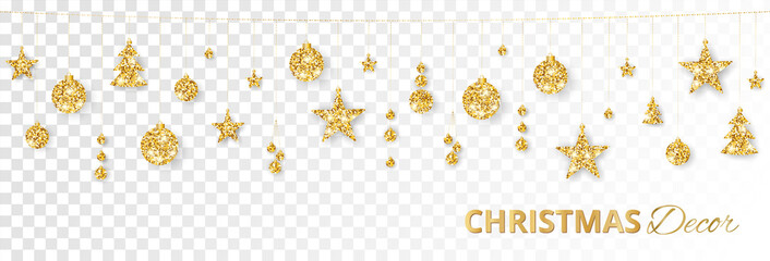 Christmas golden decoration isolated on white background. Holiday vector frame, border.