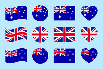 Australia, Great Britain, New Zealand flags vector set. Flat isolated icons. Australian, British, New Zealands flags collection. Web, sports page, travelling, touristic design element. Geometric shape