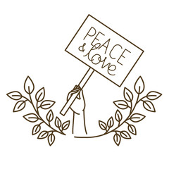 hands with protest sign and peace and love isolated icon