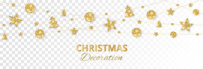 Christmas golden decoration isolated on white background. Holiday vector frame, border. Fotobehang