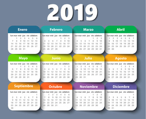 Calendar 2019 year vector design template in Spanish.