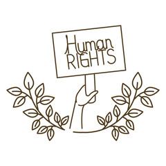 hands with protest sign and human rights isolated icon