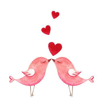 Happy Valentine's day watercolor vector illustration.