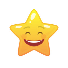 Laughing star shaped comic emoticon. Smiling face with facial expression. Glad emoji symbol for internet chatting. Funny social communication animated character. Mood message isolated vector element
