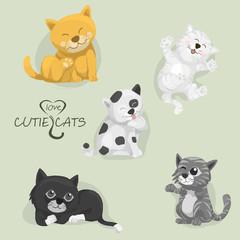 all cartoon cutie cats,set of cartoon cats,vector