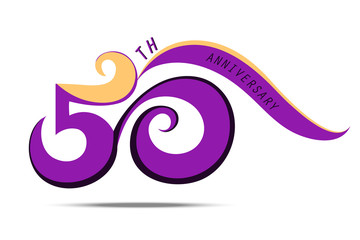 50 th anniversary and celebration, violet number logo and sign art on white background