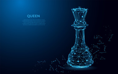 Chess Queen symbol of power. Abstract image of a luxury power in the form of a starry sky or space. Queen vector wireframe concept. abstract polygon vector design