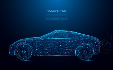 Smart Car. Abstract image of a smart car in the form of a starry sky or space. Cars vector wireframe concept. Polygon vector design. Speed, drive, fast race auto style, power concept vector