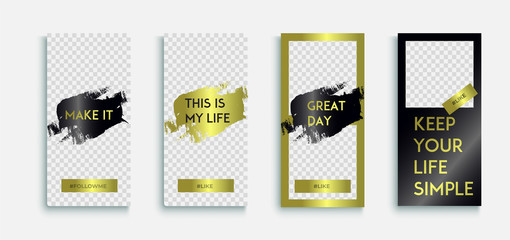 Editable instagram Luxury Stories template. Streaming. Vector set packaging templates with different texture for luxury products.