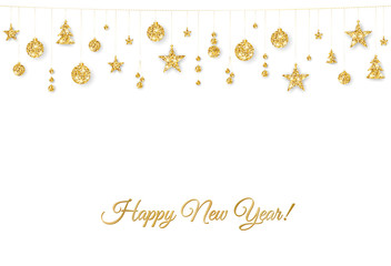 Happy New Year card. Christmas golden decoration on white background