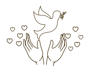 dove of peace with open hands avatar character