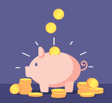Piggy bank with golden coins. Save money deposit banking and investment vector concept with money box. Illustration of piggy deposit, finance bank and investment