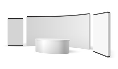 White exhibition stand. Blank trade show booth promotional display. Event panel vector 3d isolated template. Illustration of stand mockup for promotion and presentation news studio Fotobehang