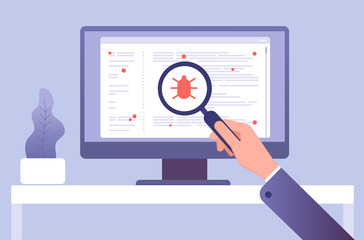 Computer virus concept. Hand with magnifying glass testing software. Bug virus icon on computer screen. Vector illustration. Search bug and virus, magnifier glass in hand