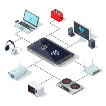 Home appliances management via smartphone - smart home isometric concept design. Vector microwave and tv control, router equipment illustration