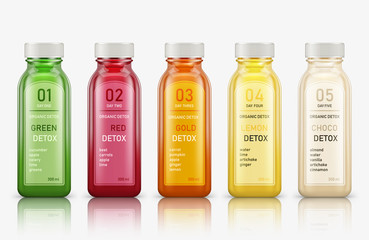 Fototapeta Various fresh vegetable detox juices, colourful smoothies in the bottle on a white background. Vector illustration