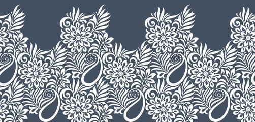 Seamless paisley with flower border