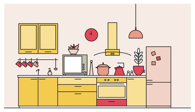 Trendy interior of kitchen full of modern furniture, household appliances, cookware, cooking facilities, tools, equipment and home decorations. Colorful vector illustration in modern line art style.