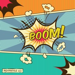 Comic effect, sound of explosion. BOOM!