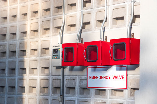 Electronic Equipment for Liquefied Gas Leak on wall with Emergency valve.
