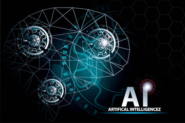 Artificial Intelligence Global communication network and AI concept.