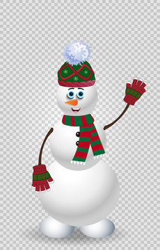 Cute cartoon snowman in green knit winter clothing on transparent background.