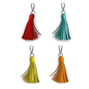 Fittings for women's handbag. Decorative pendant tassel. Red, mint, yellow, orange.