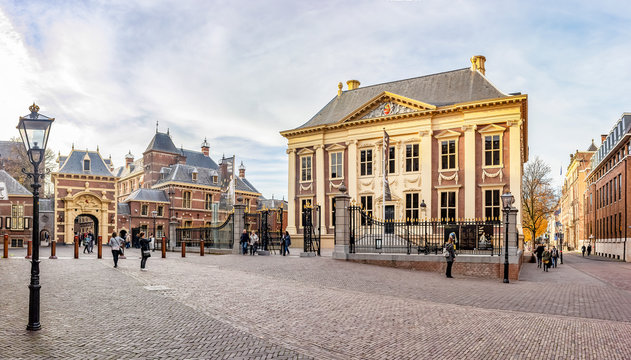 Panorama photo of the Mauritshuis with the Grenadierspoort to the Binnenhof in the Hague