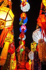 Colourful Lanna Yi Peng Lanterns in Loy Krathong festival of Chiang Mai, Thailand
