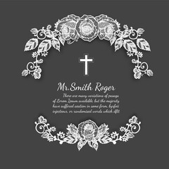 Black and white lace rose funeral card by hand drawing.Flower vector art highly detailed in line art style.