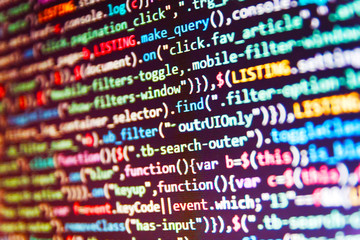 Software abstract background. Abstract source code background. Information technology website coding standards for web design Server logs analysis.
