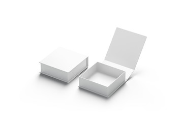 Blank white opened and closed gift box mockup set, isolated