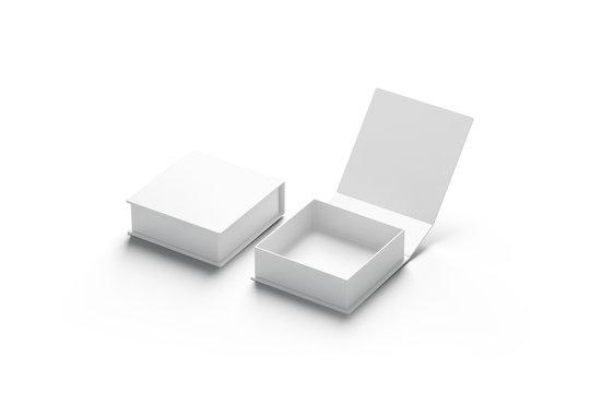 Blank white opened and closed gift box mockup set, isolated