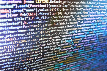 Big data database app. Software abstract background. Abstract IT technology background.  Website codes on computer monitor. WWW software development. PC software creation business.