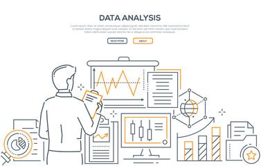 Data analysis - modern line design style web banner