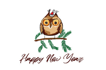 Cute owl illustration in vector. Christmas and New Year Celebrarions.