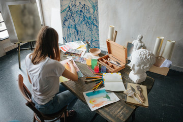 Artistic working process. PAinting with watercolors. Creative workshop