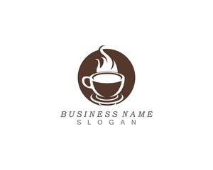 Hot coffee logo and symbol template