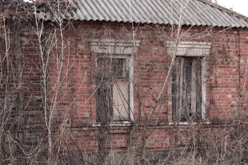 Abandoned brick house in the thickets