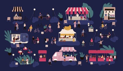 Wall Mural - Night market or nighttime outdoor fair. Men and women walking between stalls or kiosks, buying goods, eating street food, talking to each other. Colorful vector illustration in flat cartoon style.