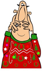 Man frightened by his ugly Christmas sweater