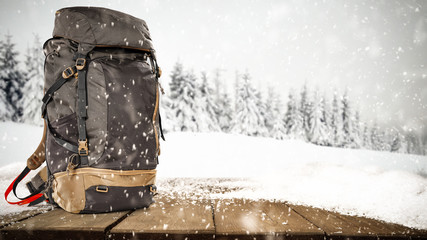 Backpack and winter time