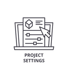 Project settings line icon concept. Project settings vector linear illustration, sign, symbol