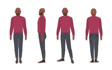 Bald bearded African American man wearing glasses and jumper. Funny male cartoon character isolated on white background. Front, side and back views. Colorful vector illustration in flat style.
